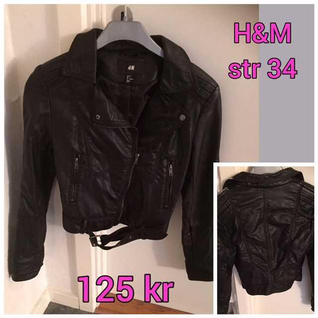 H&M læderjakke str 34 .